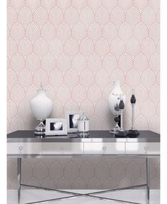 This stylish Dusky Pink Gatsby Art Deco Wallpaper features a retro pattern with a modern twist. Free UK delivery available