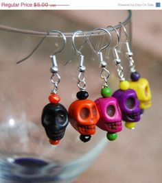 SALE Halloween Day of the Dead Skull Earrings in your choice of color $4.25
