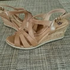 "Sofft  Sandals**FLASH SALE** Worn once only, they look brand new. Camel color, absolutely beautiful pair of sandals. Soles show little to no wear at all, only worn to church though. Size 7. Heel shy to 3"".  Sorry, I don't model ***FLASH SALE***  ****FIRM FIRM FIRM**** Sofft Shoes"