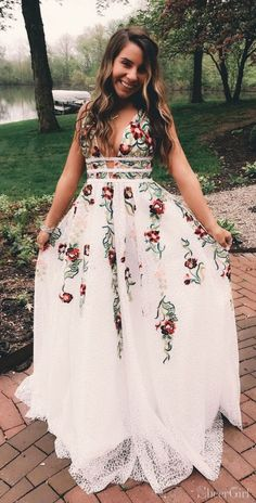 Princess A-line White Long Prom Dress with Floral Embroidery, Shop plus-sized prom dresses for curvy figures and plus-size party dresses. Ball gowns for prom in plus sizes and short plus-sized prom dresses for Floral Prom Dresses, V Neck Prom Dresses, Cute Prom Dresses, Dance Dresses, Elegant Dresses, Pretty Dresses, Bridesmaid Dresses, Dresses Dresses, Wedding Dresses