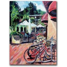 Trademark Art Bikes in Town Canvas Art by Colleen Proppe, Size: 14 x 19, Multicolor