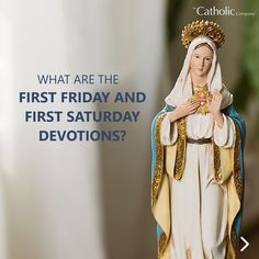 Have you ever heard the terms First Friday and First Saturday thrown around in Catholic circles, without knowing why there was something special about these particular days at the start of each month? Catholic Company, First Friday, Holy Rosary, Blessed Mother Mary, Catholic Prayers, Pray For Us, Our Lady, Princess Zelda, Faith