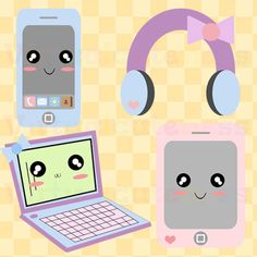 Pastel Electronics Clip Art - Phone Clipart, Laptop, Kawaii Clip Art, Tablet, Headphones, Chibi, Cute, Fairy Kei, Free Commercial and Personal Use