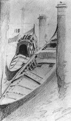Мир Врубеля. Две гондолы на причале. Вид из окна мастерской Михаила Врубеля в Венеции. 1885 г.