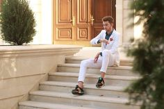 Young men style! White suit and Adidas! 2015