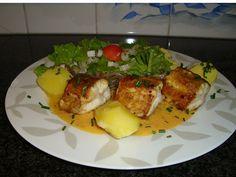 Recept voor Hondshaai of zeepaling met mosterdsaus. Meer originele recepten en bereidingswijze voor visgerechten vind je op gette.org.