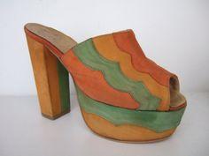 Vintage 1970s suede platform shoes @Glenda Thornton Graham Morales