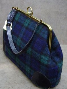 Vintage Roger Van S. Handbag in Black Watch Tartan. Reminds me of my catholic school uniform. Love Black Watch Tartan.