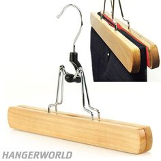 Natural Wooden Clamp Hangers - 25cm