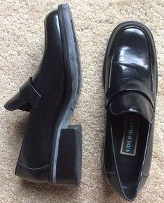 COLE HAAN Women's Black Leather Slip On Block Heel Dress Career Shoes Size 7 AA  | eBay