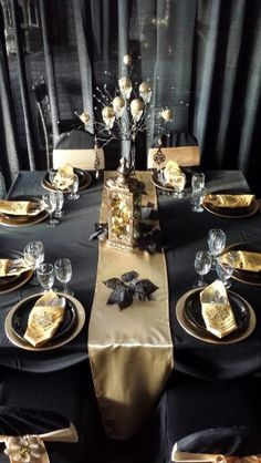 Elegant Black And Gold Table New Year Pinterest Christmas