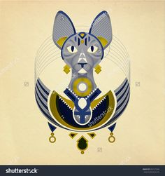 Geometric Illustration Of Stylized Sphynx Cat From Ancient Egypt ...