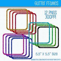Glitter Digital Frames Glitter Clip Art by CheriesArtsnCrafts, $2.85