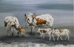 Nguni's oil on canvas x Cow Illustration, Cow Painting, Cow Art, Landscape Paintings, Oil Paintings, Cattle, Animal Pictures, Oil On Canvas, Moose Art