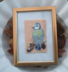Blue Tit on Branch, Embroidered Yarn and Felt Picture  £8.00