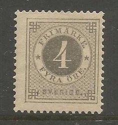 Sverige 1886, Ringtyp med blått posthorn, 4 öre grå, Facit 42. Ostämplat.
