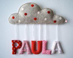 Geschenk Taufe / Geburt: Namensschild mit Wolke von MasumiBerlin