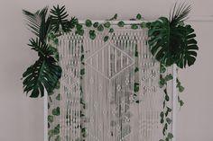 modern greenery wedding with DIY macrame backdrop