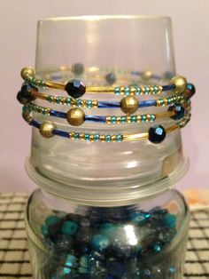 Beaded memory wire bracelet on Etsy, £4.00. New design added today.