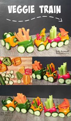 This Veggie Train Snack is fast and easy to make and so fun for the kids. Don't worry about getting it perfect, the kids will love it! fast food recipes snacks EASY Veggie Train Snack for Kids Party Trays, Snacks Für Party, Party Platters, Bug Snacks, Fruit Snacks, Lunch Snacks, Cute Food, Good Food, Veggie Platters