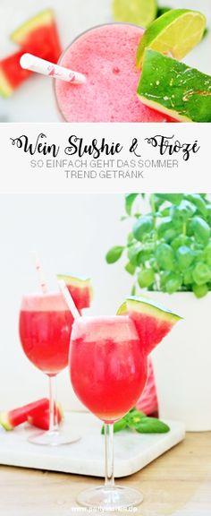 Leckeres Wein Slushi Rezept: So einfach das Sommer Trendgetränk aus Weisswein oder Roséwein mit Früchten wie Wassermelone selber mixen, perfekt für alle, die Wein mal anders servieren wollen! Rezept und Anleitung für einfache und fruchtige Wine Slushies bzw. Frosés jetzt auf www.partystories.de entdecken! Flamingo Party, Alcoholic Drinks, Cocktails, Family Events, Vegetables, Pink, Party Drinks, Watermelon, Garden Parties