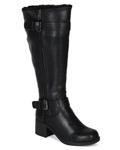 City Classified BF45 Women Leatherette Fur Inline Strap Stack Heel Knee High Riding Boot - Black ** This is an Amazon Affiliate link. Click on the image for additional details.
