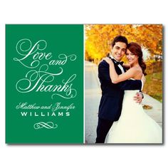 Love and Thanks   Emerald Wedding Thank You Post Card