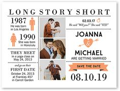 Long Story Short Save The Date Cards. Make sure they mark their calendars with this stylish Save the Date card