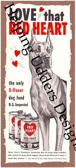 1949-1951 Red Heart Dog Food advertisement.