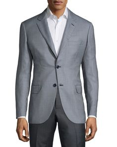 Brioni Textured Two-Button Jacket, Sky Blue/Black, Men's, Size: 56