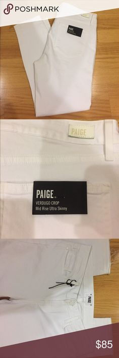 "🆕 Paige verdugo crop with raw hem NWT paige verdugo crop mid rise ultra skinny in crop white with raw edge. Transition your wardrobe into warmer weather with ultra-svelte skinny jeans in crisp white, accented with ragged released hems. Tonal stitching and hardware complete the sleek, sunshine-ready style. Also On Ⓜ️erc w/free shipping. Use this code JAGHZA for $2 off your first purchase. 27"" inseam Zip fly with button closure Five-pocket style 98% cotton, 2% spandex Machine wash cold…"