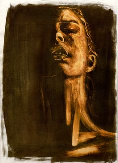 Ink and bleach portrait, work in progress