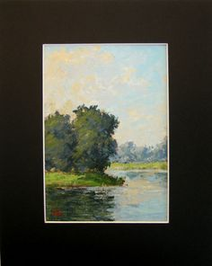 Small original painting water reflection blue by FrancescoSessa, $50.00