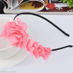 5PC New Fashion Headband Hot Pink Flower Design Fabric Headpieces 39cm