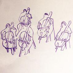 The intensity of people playing music together #sketch #monikaforsberg