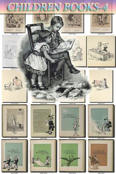 CHILDREN BOOKS-4-bw illustrations Collection by ArtVintage1800s