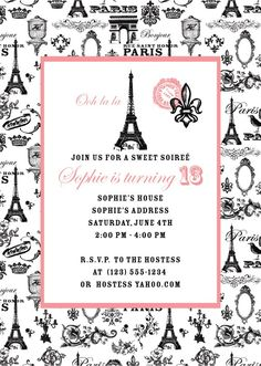 paris invitations | Paris Party Invitation Set of 10 Invitations by amymears on Etsy