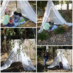 Using three long sticks, a piece of string and an old sheer curtain, we made our own simple teepee for the backyard!
