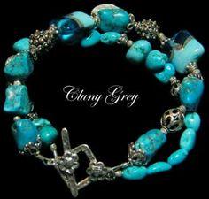 Mojave Moon - turquoise - http://www.clunygreyjewelry.com/Turquoise-beaded-bracelets.html  #jewelry