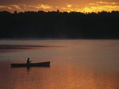 size: Photographic Print: Man Fishing on Lake, Quetico Provincial Park by Amy And Chuck Wiley/wales : Artists Fish Man, Canoe Trip, Canada Travel, Natural Wonders, The Great Outdoors, Places To Go, Sunset, World, Nature