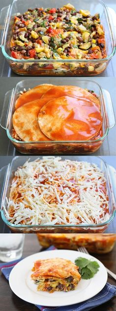 Stacked Roasted Vegetable Enchiladas ***def change the veggies up a bit