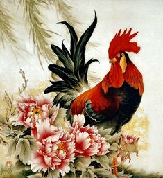 Rooster Painting, Rooster Art, Japanese Painting, Japanese Art, Arte Do Galo, Decoupage, Motifs Animal, Chicken Art, Art Japonais