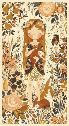 Autumn woodland lovelyness Children's Book Illustrations by Teagan White