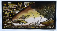 Fly Fishing Fishing Salmon with Deco Background by PrairieBungalow, $145.00