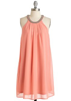 A Glimmer of Haute Dress. Brighten your outlook by donning this vivid, coral-hued party dress! Unique Dresses, Dresses For Teens, Casual Dresses, Fashion Dresses, Summer Dresses, Pretty Outfits, Cute Outfits, Romper With Skirt, Party Dress