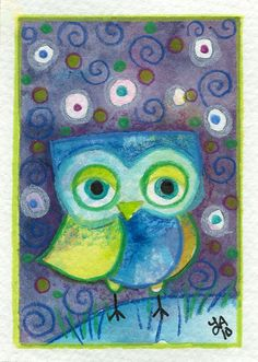 Owl! The Puzzler - Original ACEO Painting by Lauren Alexander - Etsy