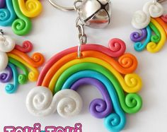 Rainbow KeyChain Kawaii Polymer Clay Keychain Cute Kawaii Keychain Rainbow Dash My Little Pony Clay Polymer Clay Rainbow Charm Cute Polymer Clay, Cute Clay, Fimo Clay, Polymer Clay Projects, Polymer Clay Charms, Polymer Clay Creations, Polymer Clay Jewelry, Clay Crafts, Clay Beads