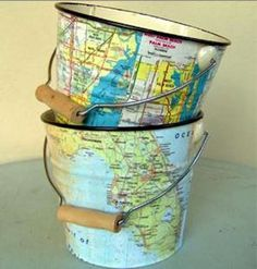 Things you can make with old maps. DIY ideas for old maps. Creative ways to use old maps in crafts and art. Map Crafts, Diy And Crafts, Crafts With Maps, Mod Podge Crafts, Magazine Deco, Magazine Ads, Do It Yourself Inspiration, Map Globe, Globe Art