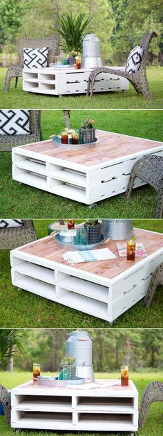 DIY Outdoor Pallet Coffee Table cheap home decor ideas rustic coffee tables Pallet Crafts, Diy Pallet Projects, Outdoor Projects, Wood Projects, Diy Crafts, Pallet Ideas, Woodworking Projects, Pallet Designs, Wood Crafts