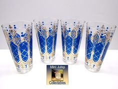 Retro Glass Blue Design Gold Fleur de Lis Tumbler Glasses Set